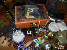 Altar Set Kit Wicca Vtg Jewelry Box Athame Besom Brass Resins Beads Beautiful