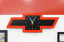 "Licensed Chevrolet Red & Black Bowtie Metal Wall Clock by GoBoxes 23"" Wide 5508"