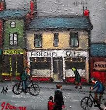 Fish & Chip Shop  : Original BEST Oil Painting  Famous Artist James Downie