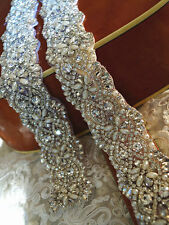 Crystal Pearl Wedding Bridal Dress Applique = DIY! = about 1 YD LONG