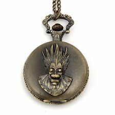 Vintage Bronze Steampunk Skull Head Case Quartz Pocket Watch Pendant Necklace