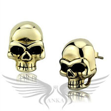 Classy Yellow Gold Plated Skull Shaped Stud Earrings No Stone TK2270