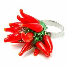 Joe Cool Red Hot Chilli Ajustable Cluster anillo-Kitsch Funky Joyas