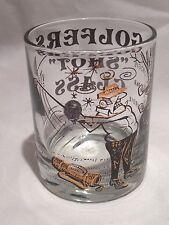 """Vintage Golfer Clear Shot Glass Bogie-Par-Birdie Collectible Green & Gold 2 1/2"""""""