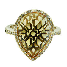 14K YELLOW GOLD PAVE DIAMOND CITRINE PEAR COCKTAIL ENGAGEMENT HALO RING