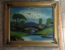 Antique Reverse Painting Country Brook With Bridge With Gold Ornate Frame