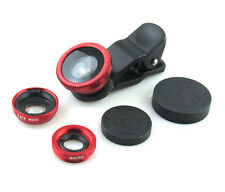 Universal Red 3 in 1 Fish Eye Wide Angle Macro Clip Lens Set Kit For iPhone iPad