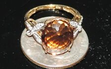 9K Gold Earth Mined 13.8x11.3mm Imperial Topaz Ring 3.84 Gram 8.28 cts Size 6.75