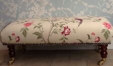 A Qualität Lang Fußhocker In Laura Ashley Sommerpalast Cranberry Stoff