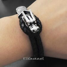 MEN'S BOY'S Solid Stainless Steel Dragon Genuine Black Braided Leather Bracelet