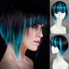 Short Bob Blue Black Silky Mix Color Wigs Blunt Bangs Cosplay Wigs Toupee