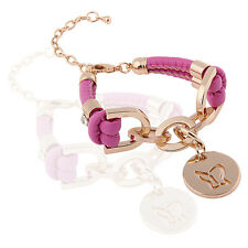 Pink PU Leather & Gold Rhinestones Wrap Butterfly Charm Bracelet BB67