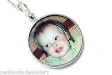 """Sterling Silver Round Photo frame Double Sided pendant and 18"""" chain Gift Boxed"""
