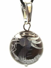 Dragon Carved 16mm Tigers Eye Gemstone Crystal Pendant