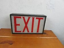 """VINTAGE NICE  1960s COMMERCIAL """"EXIT"""" SIGN METAL & GLASS COMPLETE w WIRING"""