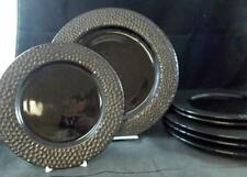 Home ZANZIBAR HAMMERED 4 Dinner Plates + 3 Salad Plates GREAT VALUE