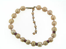 Vintage Textured Glass Pearl & Pink Rhinestone Rondell Necklace