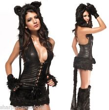 NEW Ladies 5 Pc Deluxe Black Fur Cat Animal Fancy Dress Halloween Costume Outfit