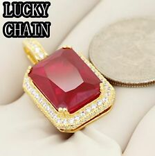 925 STERLING SILVER ICED OUT LAB DIAMOND GOLD RUBY PENDANT 9g R195