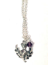 Outlander Scottish Thistle Scotland Celtic Purple Silver Plated Chain Necklace