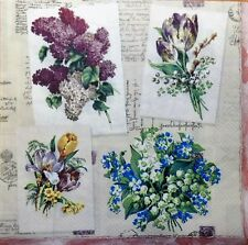 4 x  Single Decoupage Paper Napkins mix flowers spring CRAFTING table 111