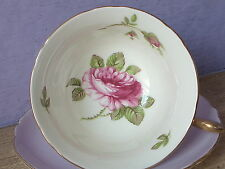 Vintage 1940's Shelley Fine Bone China English pink rose tea cup, purple tea cup