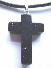 'Blue Goldstone' glass cross pendant black waxed cotton cord surf style necklace