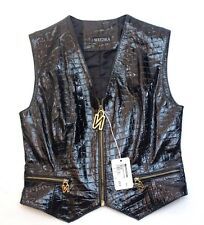 RARE! NOUCHKA Women's Genuine ITALIAN LEATHER Vest Size 42 Made in Italy $ 395