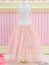 ☆╮Cool Cat╭☆91.【PS-02】Blythe Pullip Long Tulle Ball Skirt (Dot) # Pink