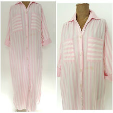 Vintage 80s Striped Dress Size Large Pink Cotton Shirt Dress Cuff Sleeve Sleep