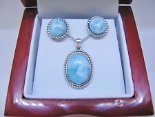 Larimar 10X14mm 100% Natural Blue Vintage .925 Sterling Silver Stud Earrings Set