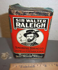 vintage Sir Walter Raleigh pocket tobacco tin, great graphics & colors, w stamp