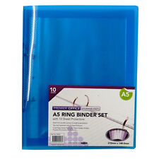 A5 Ring Binder Pack, with 10 Sheet Protectors, Size 250mmx 200mm, by Premier