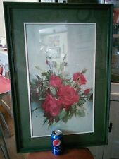 Vtg Vernon Ward Red Shabby Rose Chic flower Print Green Frame picture French Pro