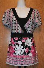 Womens Pretty Pink Floral Notations Cap Sleeve Shirt Size Medium excellent
