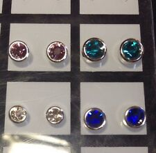 925 Sterling Silver Stud Set Of 4 Pair Asst Sizes Swarovski Crystal