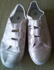 Silver Canvas/Textile/Rubber  Velcro Casual Trainers  Shoes Size 3 /36