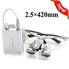 Silver Dental Loupes 2.5X 420mm Surgical Medical Binocular + LED Head Light Lamp