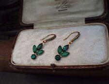 Vendimia verde esmeralda cristal & pendientes de Cuarzo. Perforado Gancho.