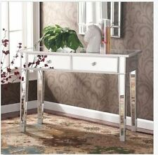 Mirrored Console Table Glam Vanity Mirror Sofa Accent Decor Drawers Silver Desk
