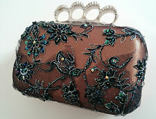 HANDMADE LADIES EVENING CLUTCH BAG - RAW EDGE BEADED LACE CRYSTAL RING PURSE