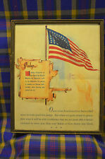 Vintage PLEDGE OF ALLEGIANCE Picture in Wooden Frame w/Flag&God Speed the Day