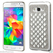 Silver 3D Diamante Snap Fit Case Back Cover for Samsung Galaxy Grand Prime G530