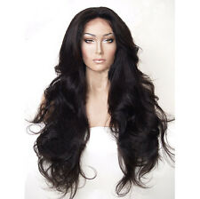 "24"" Heat Resistant Lace Front Wig Synthetic Hair Long Wavy Black Color 1B"