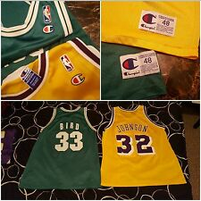 EUC Magic Johnson Larry Bird champion Jersey size 48 L.A.Lakers Boston Celtics