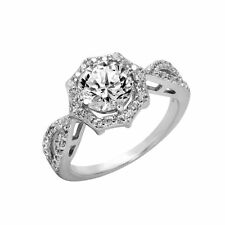 925 STERLING SILVER FINE OCTAGON SHAPE LADIES RING W/ MAN MADE DIAMONDS/SZ 5 - 9