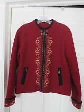 Nordic design fair isle oxblood burgundy wool embroidered floral jacket Size M