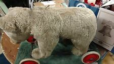 """Antique 20"""" Beige Steiff Ride On Toy Bear on Wheels with Growler- Free Shipping"""