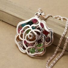 New design gold plating Color crystal rose sweater chain necklace KK303