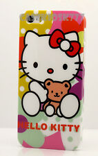 for iPhone 5 5S  case pink white green w/ teddy bear polka dot & film